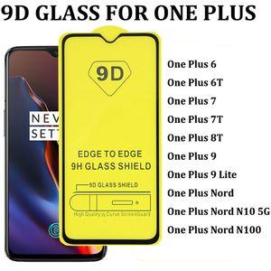 Protector de pantalla de vidrio templado de la cubierta total 9D para uno más 6 6T 7 7T 8T 9 9LITE ONE PLUS NORD N10 5G N100