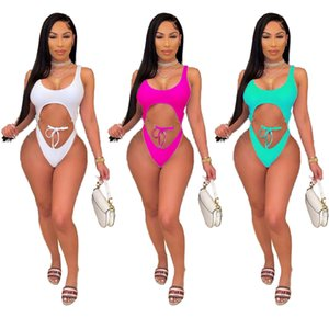 Women's 2021 fashion casual hollow out sexy swimsuit Chain sexy white swimsuit Onesies bathing bikini Hollow out high cut swimwear