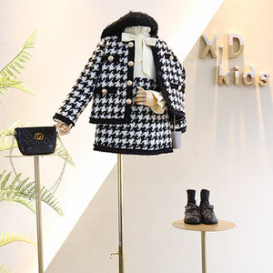 2021 Spring and Autumn Arrival Clothing Sets Girls Fashion Houndstooth 2 Pieces Suit Coat+skirt Kids Tweed SetGirls Clothes