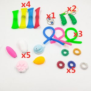20PCS SET Fidget Sensory Toy Bundle Fidget Noodle Mesh and Marble Squeeze Bean Pea Toys Key Ring Autism Stress Relief Special Needs LY2241