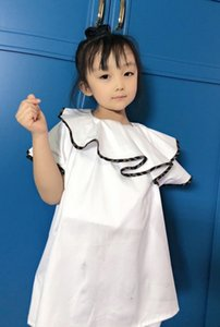 2021 kids cotton jumper tops fashion baby white ruffle collar loose T-shirts retail clothes