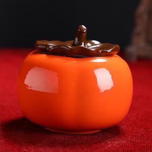 Nouveau Rrival Shape Boîte à thé en forme de thé vert Orange Tea Tea Jar Humide Soldy Biscuits Jar Portable Aliments Scellés Céramique