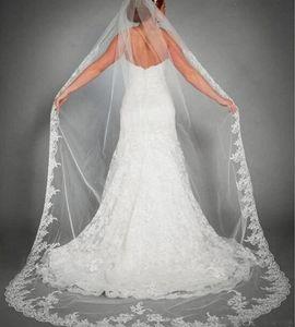2021 uma camada longa véu de casamento barato applique laço noiva véu de alta qualidade véus de casamento acessórios nupculos com pente em estoque