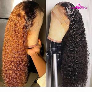Ali coco rubio rizado pelo humano encaje frente 180% densidad naranja jengibre ombre color brasileño remy curl pelucas pre arranque