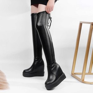 Long tube over knee children's thick sole inside high shoes autumn and winter muffin heel Plush warm women's boots