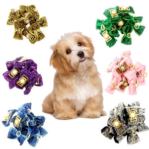 10Pcs Set Small Dogs Bowknots Various StylePet Dog Hair Bows Rubber Bands With Diamond Dog Bow Grooming Supplies Pet Products
