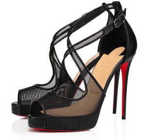 Abendwäsche Sandalen Mariacar Stiletto Ferse Nude Black Mesh Pumps Rotes Boden High Heels Luxus Party Kleid Sexy Peep-Toe Sandalias EU35-43