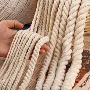Yarn 5 10M 6MM 8MM 10MM 12MM 3 Shares Twisted 100% Cotton Cords Rope For Bag Home Decor DIY Textile Accessories