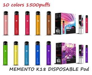 Оригинальный Memento K18 одноразовые устройства для устройств POD POD 850 мАч Аккумулятор 1500 слойки префиден 4,8 мл картридж Vape Peen подлинной VS Bar XXL PLUS