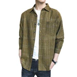 Erkekler Ekose Gömlek 2021 İlkbahar Sonbahar Kore Rahat Uzun Kollu Slim Fit Cep Yüksek Kalite Gömlek Adam Tops W1768