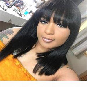 Soft Real Human Hair Brazilian Bob Wig with Flat Bangs Natural Black Color Bob Wigs for Women Short Straight Bob Wig Human Hair