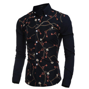 2021 Fashion Key & Chain Prints Mens Dress Shirts Long sleeve Slim Fit Casual Social Camisas Masculinas for Man Chemise homme