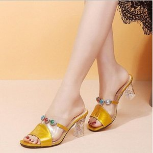 Summer New Rhinestone Sandals And Slippers Fashion Womens Shoes High Heeled Wear Thick Heel Fish Mouth Half Drag Word Slippers Happy F 80RJ#