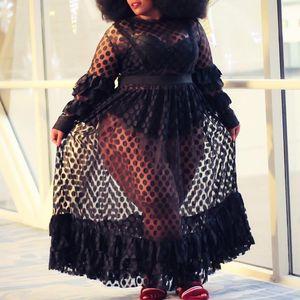 Plus Size Party Sexy Club African Black Summer Women Long Dresses Casual Aline Ruffle Sleeve Mesh High Waist Plain Female Dress