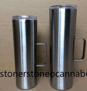 20oz 30oz skinny tumbler with handle vacuum stainless steel straight cup coffee beer mug lid drinking mugs A07