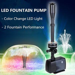 Air Pumps & Accessories Fish Tank LED Fountain Pump Submersible Aquarium Water Garden Pond Waterfall With Light Waterpump