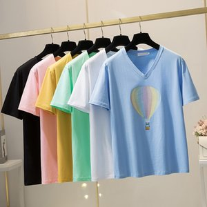 Big Size T-shirt Summer T-shirt Women Cotton Printed T-shirt Fashion V-neck Plus Size Tees L XL 2XL 3XL 4XL 5XL