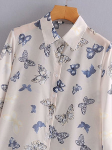 new Toppies 2021 butterfly print chiffon female blouses long sleeve sexy shirts see through tops V6Q3