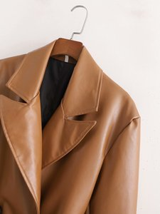2021 New Winter Faux Leather Trench Coat Woman Pu Windbreaker Double Breasted Outwear Solid Color B5xm