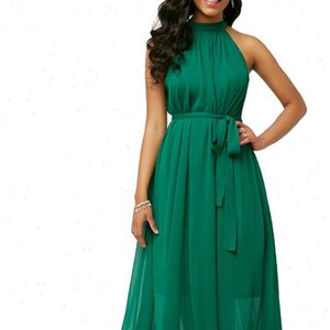 Plus Size Womens dress Summer Solid Color Pleated Chiffon Sleeveless Belted Maxi party Dress Womens wear