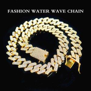 High quality fashion decorative necklace 20mm three row diamond Miami Cuba chain full of zircon men's hip hop