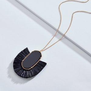 Mode Kendra Style Style Designer Inspiré Bijoux de marque Ovale Pierre Raffia Straw Fan Fringe Pendentif Pendentif Glass pour femmes