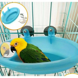 Bird Water Bath Tub For Pet Bird Cage Hanging Bowl Parrots Parakeet Birdbath jllHcE yummy_shop