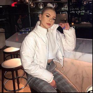 Black White Winter Wear Puffer Jacket Women Bubble Coat 2021 Clothes Cute Parka Ladies Outerwear Crop Coats and Jackets