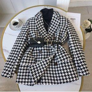 Capa de lana de las mujeres Chaqueta de lana de lana con bolsa de cintura Primavera de las mujeres abrigo de gallo houndstooth coreano traje grueso suelto