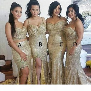 Two Piece Bridesmaid Dresses Draped Back Sequins Mermaid Long Bridesmaids Dress Sexy Plus Size Sparkly 2019 Prom Dresses
