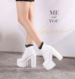 Wedges Ankle White Black Rubber Sole Shoes Platform Boots Women Lacing Autumn Heels Heel 16 cm