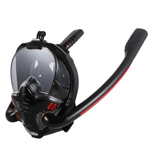 Double Respirator Snorkeling Diving Mask HD Full Face Dry Swimming Snorkel Equipment Underwater Accessories With Camera Bracket