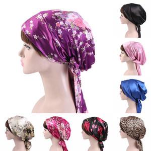 58cm Soft Silk Mulheres Cabelo Cabelo Caps Night Sleep Chuveiro Tampão Ajustável Senhoras Longas Cuidados Cuidados Capacidade Headwrap Headwrap Acessórios