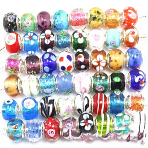 Silver Color Murano Glass Beads Fit European Charm Bracelet Spacer And Jewelry Making by 50pcs Mix 9 U2