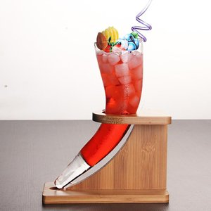 Distinctive Originality Ox Horn Model Cocktail Cup Bamboo Holder Set For Bar Draft Beer Glass Shelf Juice Special Drinks Glasses