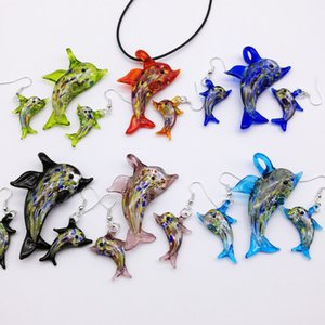 6 Set Dolphin Lampwork Glass Murano Bead Necklace Earring FASHION There Are Six Color Optional
