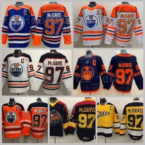 Men Edmonton Oilers 97 Connor McDavid Jersey Ice Hockey Reverse Retro Vintage Classic Navy Blue White Yellow Orange Black All Stitched High Quality