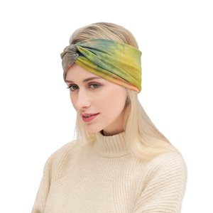 Tie-dye Sports Sweat - absorbing Hair Bands Hot New Style Print Fitness Yoga Cross Soft Cotton Hair Band LLA353