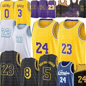 23 LBJ Anthony 3 Davis 0 Kyle Los Kuzma Jersey Angeles Alex 4 Caruso Talen 5 Horton-Tucker Jersey 2021 White City كرة السلة الفانيلة