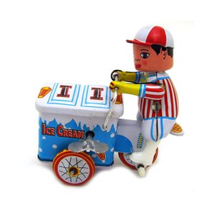 Cartoon Winding-upTin Ice Cream Cart, Diecast Model Cars, Manual Handcrafts, Nostalgic Toys, Home Accessories, Kid' Party Birthday Gifts, Collecting