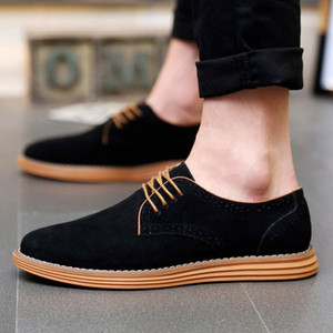 2019 Sıcak Satış Erkek Rahat Ayakkabılar Yeni Moda Rahat Katı Lace Up Oxfords Deri Ayakkabı Erkek İş Sapatenis Masculino B6mn #