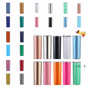 Stainless Steel Tumbler 20oz Skinny Tumblers with Lids Straws Double Wall Vacuum Cups Beer Coffee Mugs Water Bottle 27 Colors FWF5351