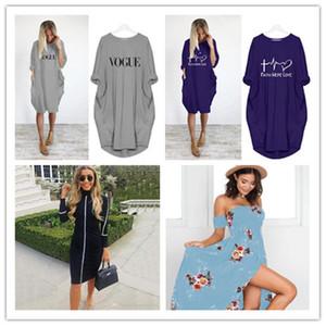 Delle Donne Summer Casual Dress Plus Size Abbigliamento Mamma Moglie Lady Tasche Sloate Abiti vacanze 4xL 5xl Vestiti per le donne