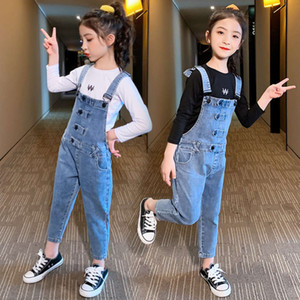 Children's wear denim strap pants two piece set 2021 girls' Korean 4-grain foreign style base coat