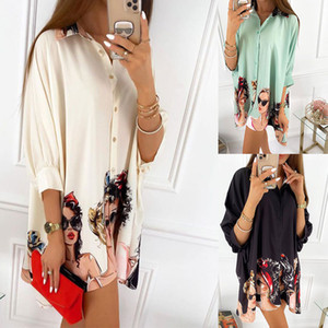 Womens Pattern Blouses Lapel Neck 3 4 Sleeve Cardigan Shirts Spring Autumn Fall Fashion Slim Women Clothes