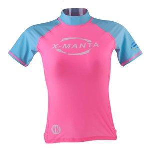 Women\\'s Short Sleeve Rash Guard Sun Protection Surfing Top Swimwear Shirts
