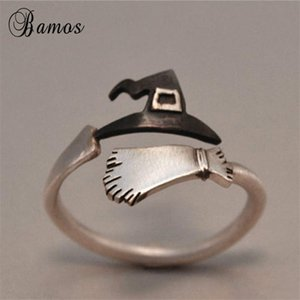 Wedding Rings Bamos Ghost Witch Broom Finger Ring 925 Sterling Silver Filled Halloween Festival Adjustable For Women Men Cosplay Jewelry