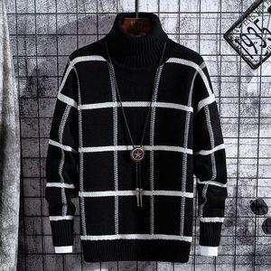 Maglioni da uomo maglione uomo vestiti 2021 inverno spessa calda uomo plaid maglioni moda classico dolcevita uomo pullover caldo pull homme