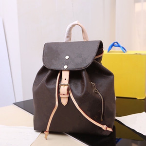 Sperone Backpack Classic Women Fashion Cover Satches Coated Canvas Flower Brown White Check 2 Sizes MM BB Double Straps Ladies Rucksack