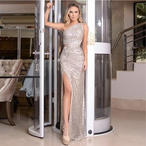 One Shoulder Silver Navy Stretchy Party Dress Sequin Hollow Out Split Leg Floor Length Bydocon Long Dresses 210306